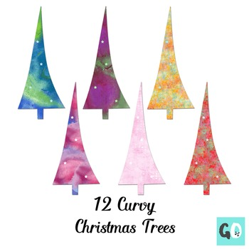 Christmas Trees Clipart, Watercolor Clip Art