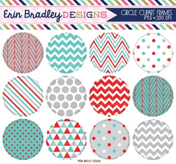 Clip Art Circles - Blue Red & Gray Digital Backgrounds