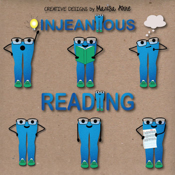 "Clip Art: Classroom Mascot Denim Jeans ""JEANiuses"" Thinking, Reading, Writing"