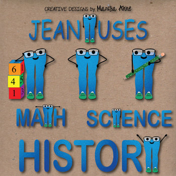 "Clip Art: Classroom Mascot Denim Jeans ""JEANiuses"" Thinkin"