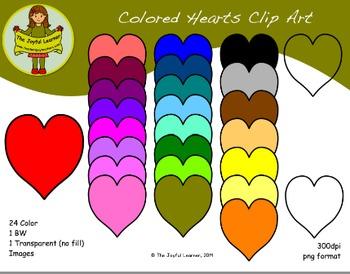 Clip Art: Colored Hearts (freebie)