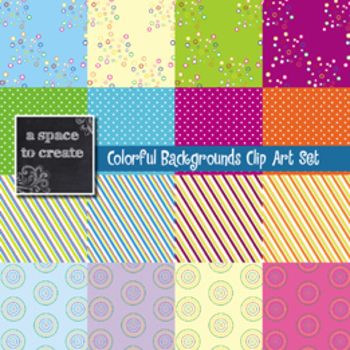 Clip Art: Colorful Backgrounds Digital Paper