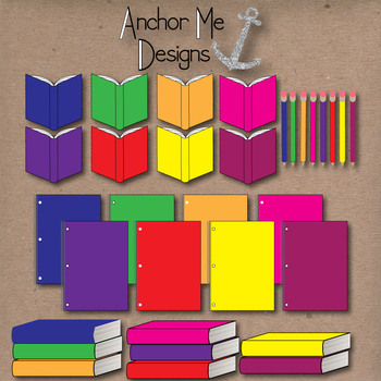 Clip Art: Colorful Classroom Items- open & closed books, pencils, notebooks