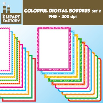 Clip Art: Colorful Digital Borders and Frames Set #2- 20 Borders