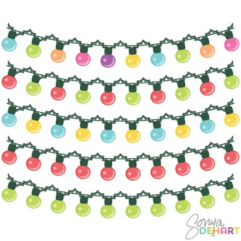 Clipart - Colorful Holiday String Christmas Lights