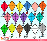 Rainbow Kites Clipart