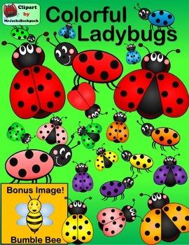 Clip Art - Colorful Ladybug Clipart