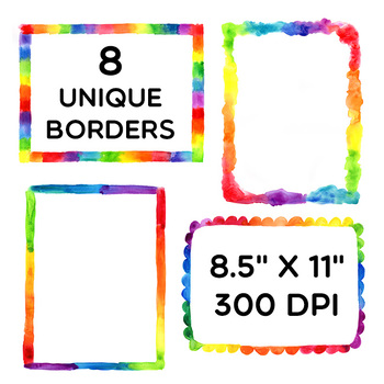 Clip Art: Colorful Rainbow Watercolor Borders Personal and Commercial Use OK