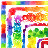 Clip Art: Colorful Rainbow Watercolor Borders Personal and