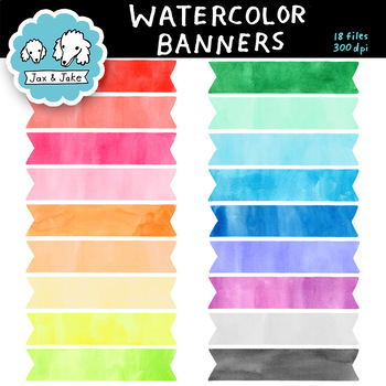 Clip Art: Colorful Watercolor Banners Personal and Commercial Use OK