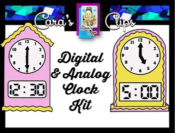 Clip Art~  Combined Analog and Digital Clocks Kit