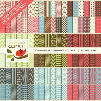 "Clip Art: Complete Set Bundle Package ""Summer Colors"" - 108 Digital Papers"