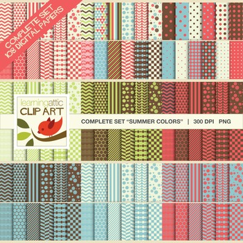 "Clip Art: Complete Set Bundle Package ""Summer Colors"" - 108 Digital Papers"