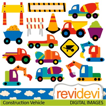 Clip Art: Construction trucks (transportation, vehicle, under construction)