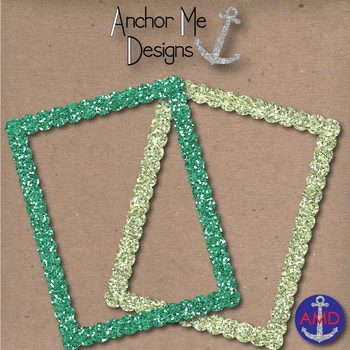 Clip Art Cool Blue & Green Round Glitter Frames/Borders