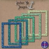 Clip Art Cool Blue & Green Round Glitter Frames/Borders