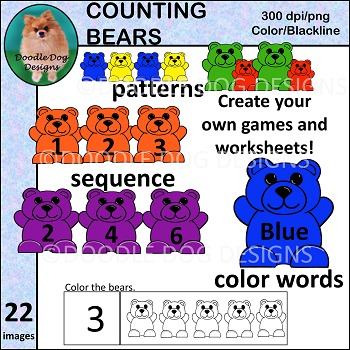 Clip Art - Counting Bears - Math Counters - Counter Bears