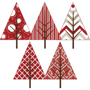 Clipart - Patterned Christmas Trees FREE