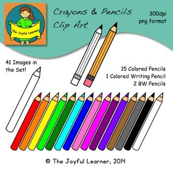 Clip Art: Crayons, Colored Pencils, & Writing Pencil