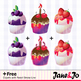 Clip Art : Cupcake Digital Clip Arts + Free Digital Papers & Backgrounds {Sweet}