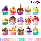 Clip Art : Cupcake Digital Clip Arts + Free Digital Papers