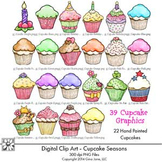 Clip Art Cupcakes Graphics Color and Black and White by Gina Jane