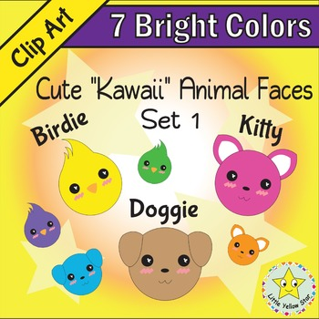 Clip Art – Cute Kawaii Animal Faces (Cat, Dog, Bird) – 7 Bright Colors*Set 1