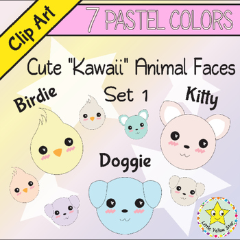 Clip Art – Cute Kawaii Animal Faces (Cat, Dog, Bird) – 7 Pastel Colors*Set 1