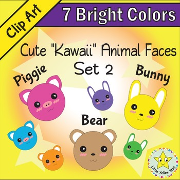 Clip Art – Cute Kawaii Animal Faces (Rabbit, Pig, Bear) – 7 Bright Colors*Set 2