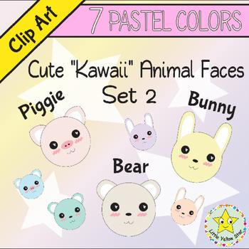 Clip Art – Cute Kawaii Animal Faces (Rabbit, Pig, Bear) –