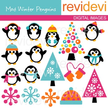Clip Art: Cute Penguins (winter, snowflakes) clipart