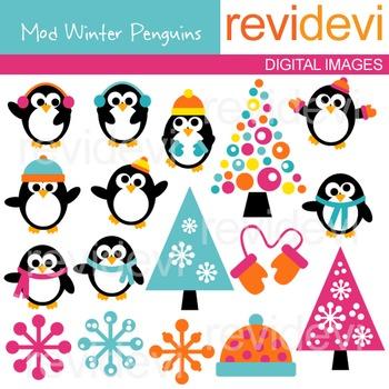 Clip Art: Cute Penguins (winter, snowflakes) clipart