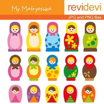 Clip Art: Cute Russian Dolls Matryoshka