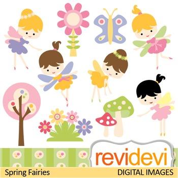 Clip Art: Cute Spring Fairies (girls, garden, fairy) clipart