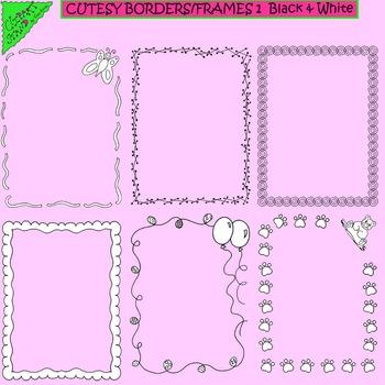 Clip Art Cutesy Borders/Frames 1 Black & White