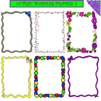 Clip Art Cutesy Borders/Frames 2 by Clip Art Stand by Tina Anne | TpT