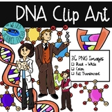Clip Art: DNA - 36 PNG Images B/W; TRANSPARENT; COLOR