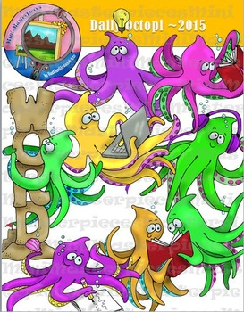 Clip Art: Daily Octopi Reading and Writing by HeatherSArtwork