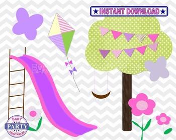Clip Art- Day at the park Clip Art Set includes Slide, Park, Kite, Flowers