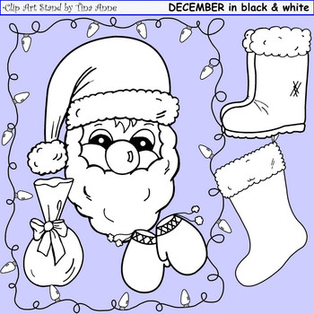 Clip Art December Black & White