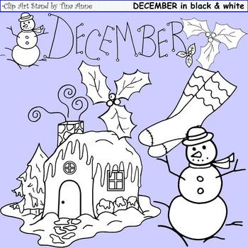 Clip Art December Black & White