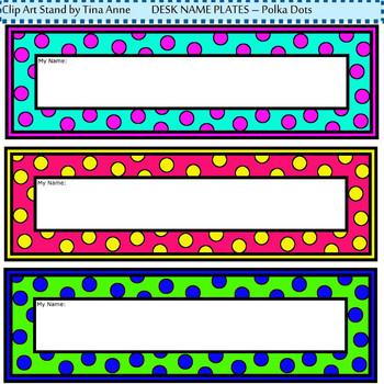 Clip Art Desk Name Plates Polka Dots