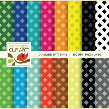 Clip Art: Diamond Pattern in bright multi colors - 32 Digital Papers