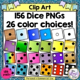 Clip Art Dice in 13 Colors and Black & White (Commercial Use Ok)