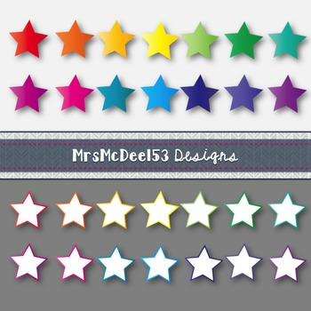 Clip Art Digital Bright Stars in Rainbow Colors {28 png files}