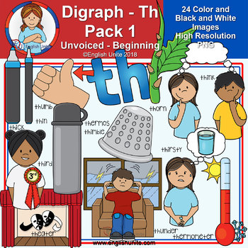 Clip Art - Digraph Th Pack 1 (Unvoiced - Beginning)