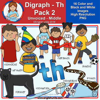 Clip Art - Digraph Th Pack 2 (Unvoiced - Middle)