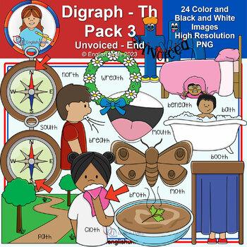 Clip Art - Digraph Th Pack 3 (Unvoiced - End)
