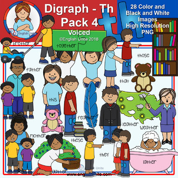 Clip Art - Digraph Th Pack 4 (Voiced)