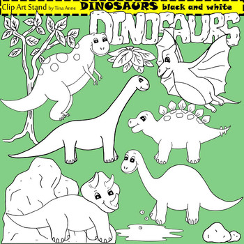 Clip Art Dinosaurs in black and white